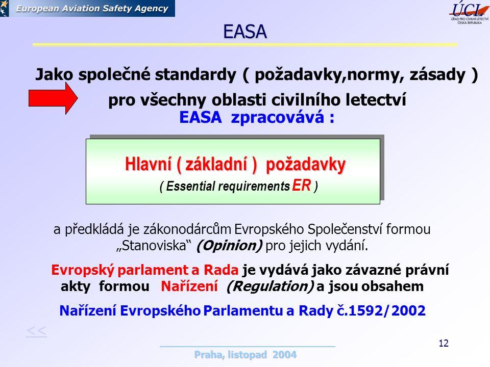 """Praha, listopad 2004 12 Hlavní ( základní ) požadavky Hlavní ( základní ) požadavky ( Essential requirements ER ) a předkládá je zákonodárcům Evropského Společenství formou """"Stanoviska (Opinion) pro jejich vydání."""