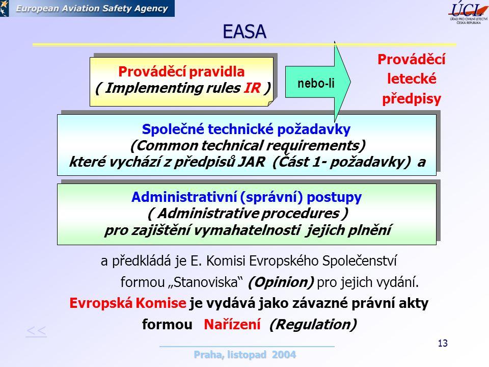 Praha, listopad 2004 13 Prováděcí pravidla ( Implementing rules IR ) Prováděcí pravidla ( Implementing rules IR ) Společné technické požadavky (Common technical requirements) které vychází z předpisů JAR (Část 1- požadavky) a Společné technické požadavky (Common technical requirements) které vychází z předpisů JAR (Část 1- požadavky) a Administrativní (správní) postupy ( Administrative procedures ) pro zajištění vymahatelnosti jejich plnění Administrativní (správní) postupy ( Administrative procedures ) pro zajištění vymahatelnosti jejich plnění a předkládá je E.