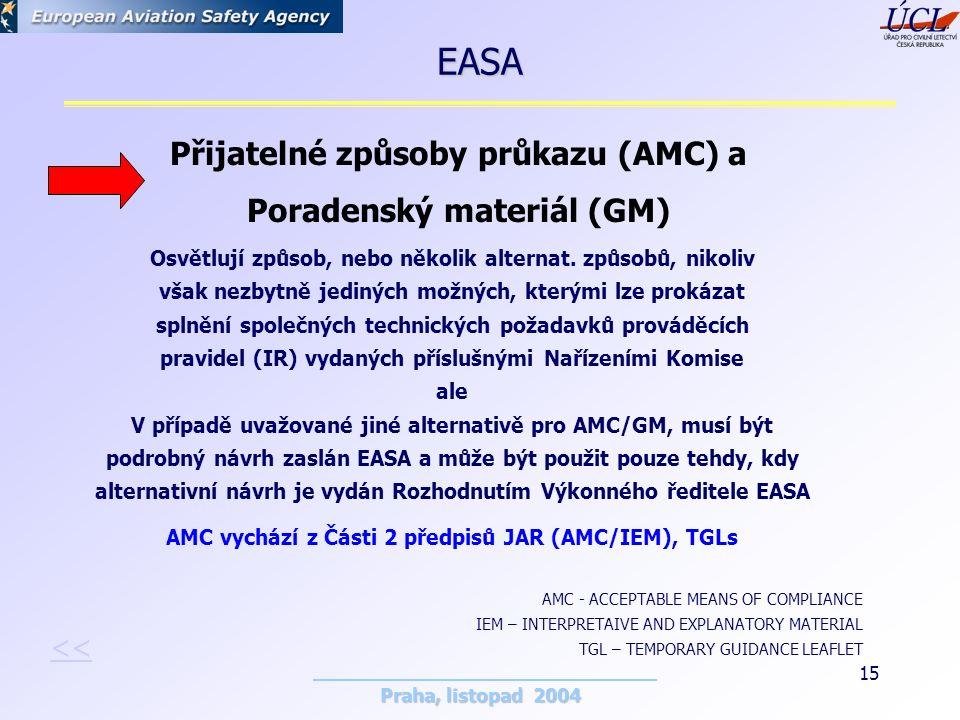 Praha, listopad 2004 15 Přijatelné způsoby průkazu (AMC) a Poradenský materiál (GM) Osvětlují způsob, nebo několik alternat.