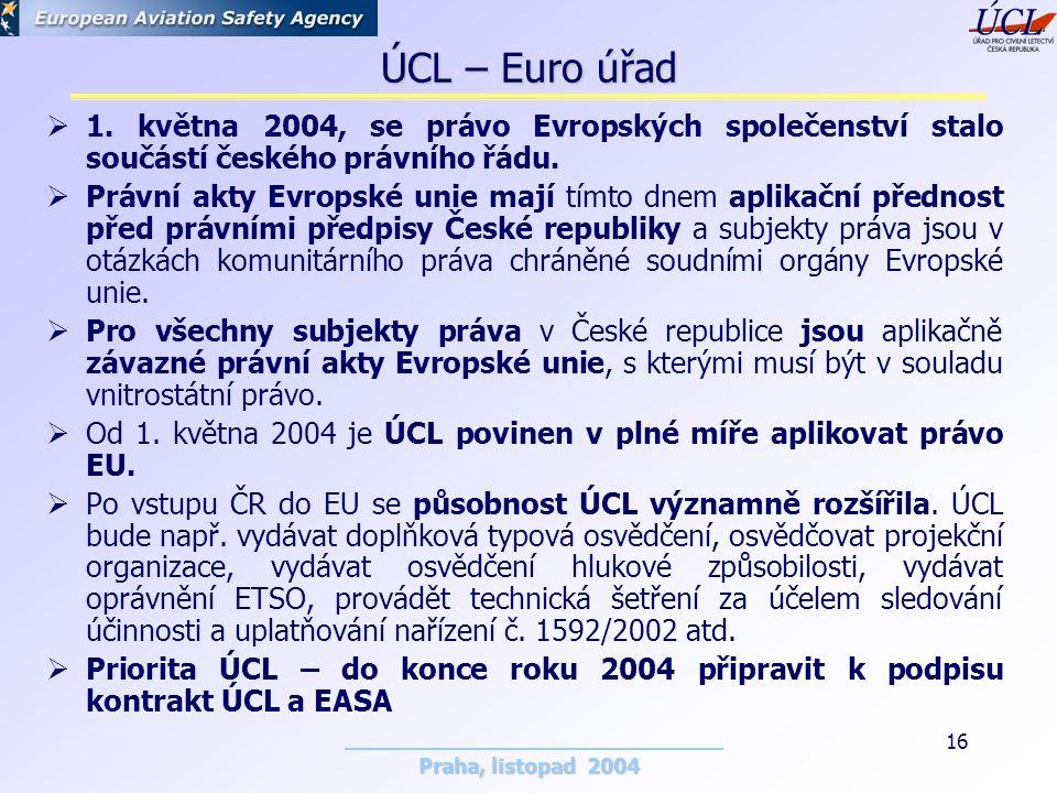 Praha, listopad 2004 16 ÚCL – Euro úřad  1.