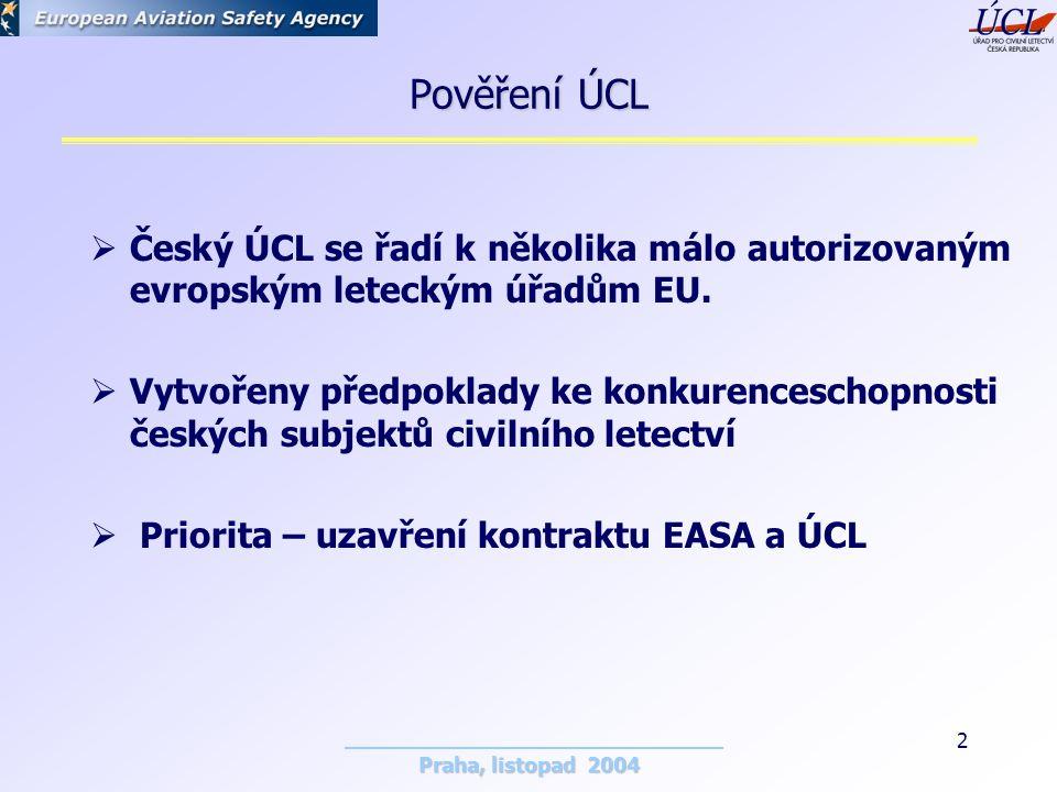 Praha, listopad 2004 2 Pověření ÚCL  Český ÚCL se řadí k několika málo autorizovaným evropským leteckým úřadům EU.