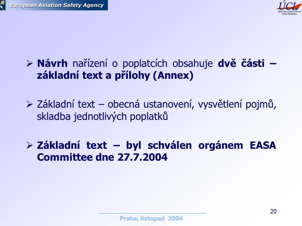Praha, listopad 2004 20  Návrh nařízení o poplatcích obsahuje dvě části – základní text a přílohy (Annex)  Základní text – obecná ustanovení, vysvětlení pojmů, skladba jednotlivých poplatků  Základní text – byl schválen orgánem EASA Committee dne 27.7.2004