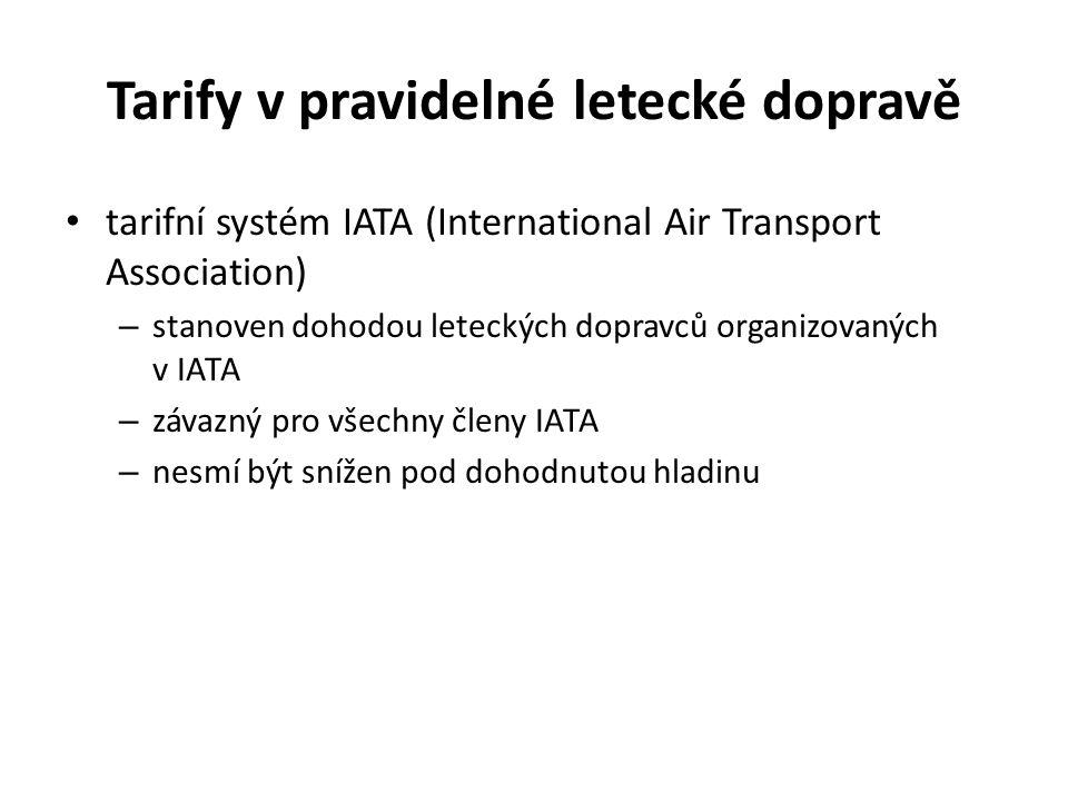 Tarify v pravidelné letecké dopravě tarifní systém IATA (International Air Transport Association) – stanoven dohodou leteckých dopravců organizovaných v IATA – závazný pro všechny členy IATA – nesmí být snížen pod dohodnutou hladinu