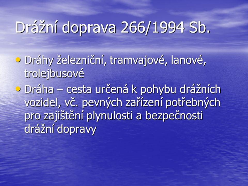Drážní doprava 266/1994 Sb. Dráhy železniční, tramvajové, lanové, trolejbusové Dráhy železniční, tramvajové, lanové, trolejbusové Dráha – cesta určená