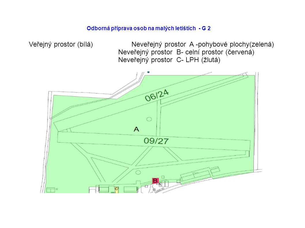 Odborná příprava osob na malých letištích - G 2 Veřejný prostor (bílá) Neveřejný prostor A -pohybové plochy(zelená) Neveřejný prostor B- celní prostor (červená) Neveřejný prostor C- LPH (žlutá)