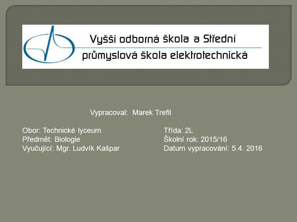 Vypracoval: Marek Trefil Obor: Technické lyceum Třída: 2L Předmět: Biologie Školní rok: 2015/16 Vyučující: Mgr.
