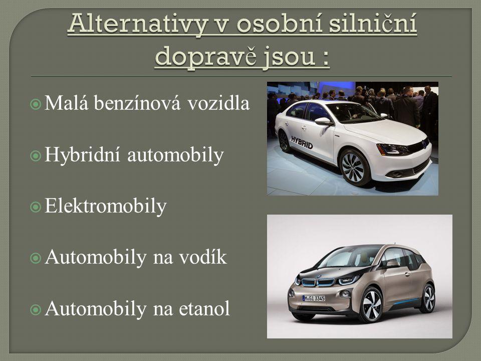  Malá benzínová vozidla  Hybridní automobily  Elektromobily  Automobily na vodík  Automobily na etanol