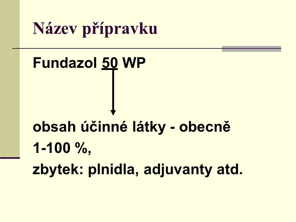 Název přípravku Fundazol 50 WP obsah účinné látky - obecně 1-100 %, zbytek: plnidla, adjuvanty atd.