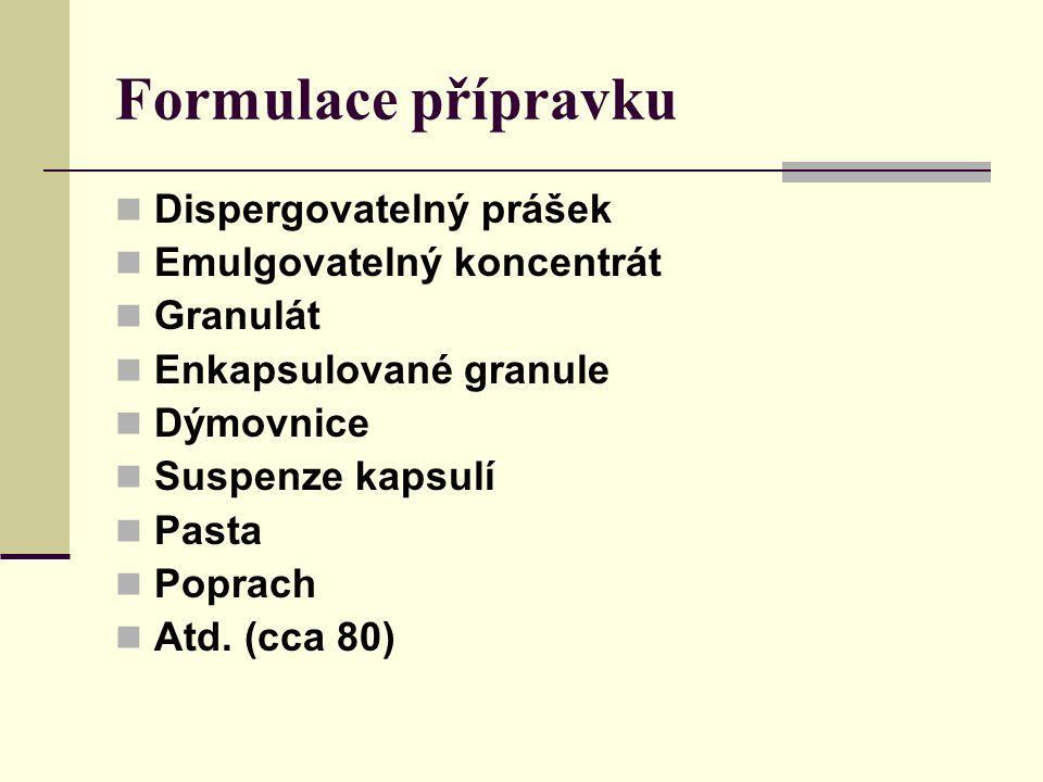 Formulace přípravku Dispergovatelný prášek Emulgovatelný koncentrát Granulát Enkapsulované granule Dýmovnice Suspenze kapsulí Pasta Poprach Atd.