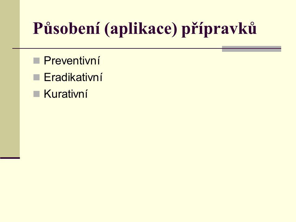 Působení (aplikace) přípravků Preventivní Eradikativní Kurativní