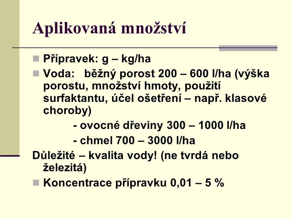 Aplikovaná množství Přípravek: g – kg/ha Voda: běžný porost 200 – 600 l/ha (výška porostu, množství hmoty, použití surfaktantu, účel ošetření – např.