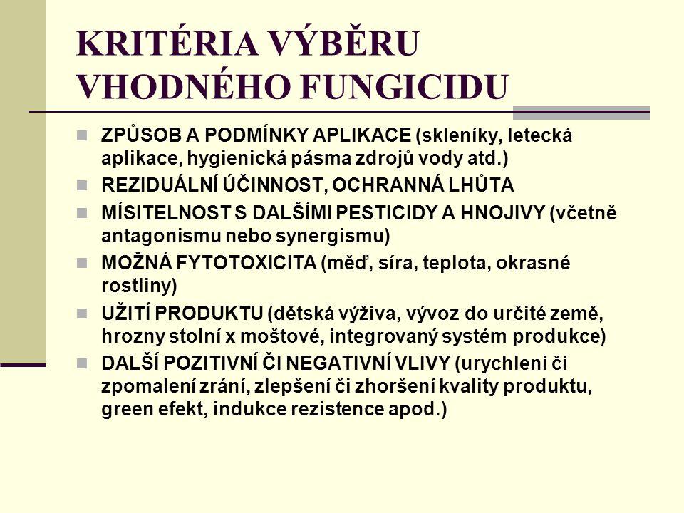 KRITÉRIA VÝBĚRU VHODNÉHO FUNGICIDU ZPŮSOB A PODMÍNKY APLIKACE (skleníky, letecká aplikace, hygienická pásma zdrojů vody atd.) REZIDUÁLNÍ ÚČINNOST, OCHRANNÁ LHŮTA MÍSITELNOST S DALŠÍMI PESTICIDY A HNOJIVY (včetně antagonismu nebo synergismu) MOŽNÁ FYTOTOXICITA (měď, síra, teplota, okrasné rostliny) UŽITÍ PRODUKTU (dětská výživa, vývoz do určité země, hrozny stolní x moštové, integrovaný systém produkce) DALŠÍ POZITIVNÍ ČI NEGATIVNÍ VLIVY (urychlení či zpomalení zrání, zlepšení či zhoršení kvality produktu, green efekt, indukce rezistence apod.)