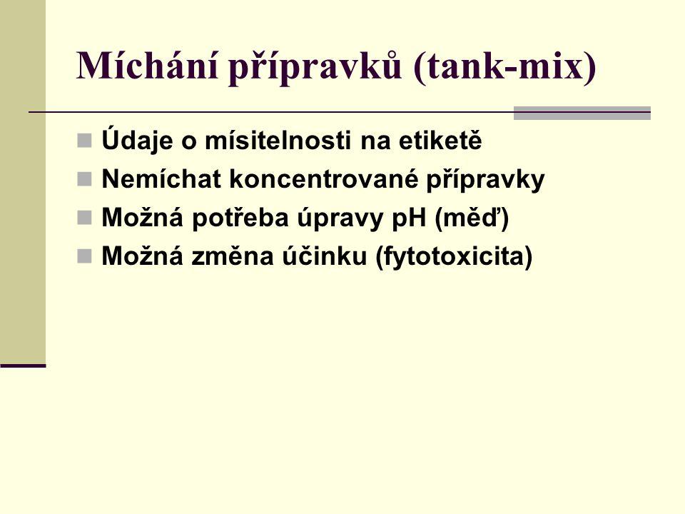 Míchání přípravků (tank-mix) Údaje o mísitelnosti na etiketě Nemíchat koncentrované přípravky Možná potřeba úpravy pH (měď) Možná změna účinku (fytotoxicita)