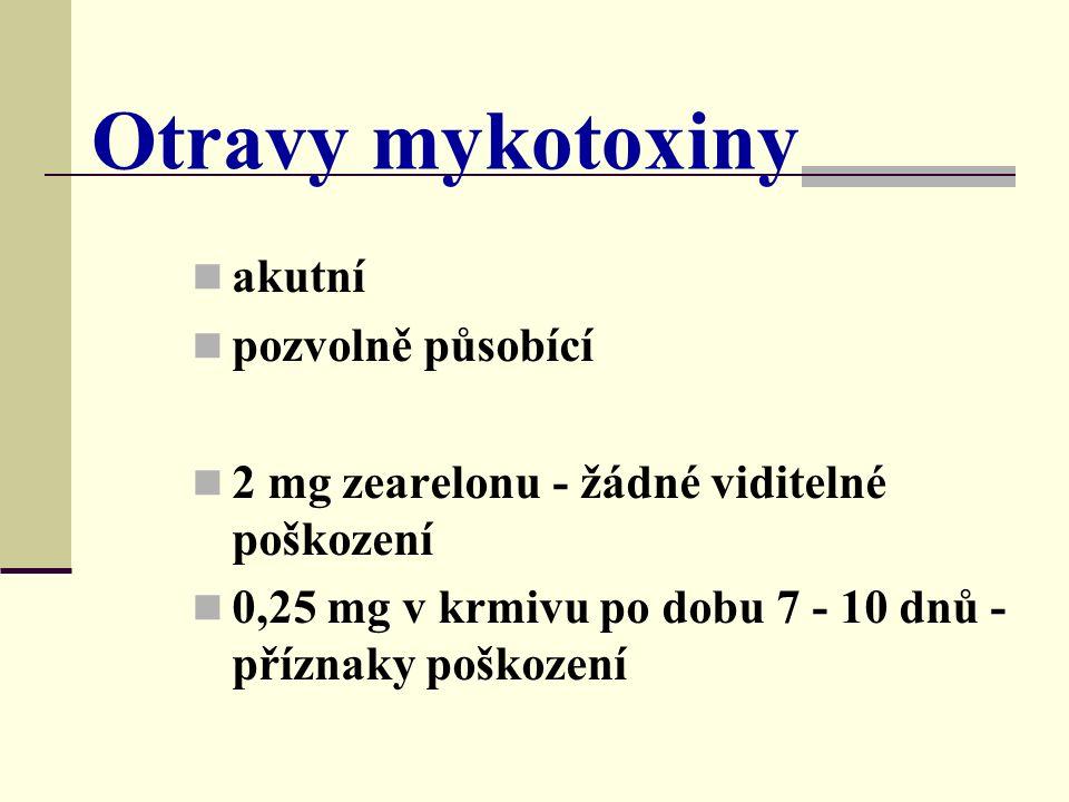 Otravy mykotoxiny akutní pozvolně působící 2 mg zearelonu - žádné viditelné poškození 0,25 mg v krmivu po dobu 7 - 10 dnů - příznaky poškození