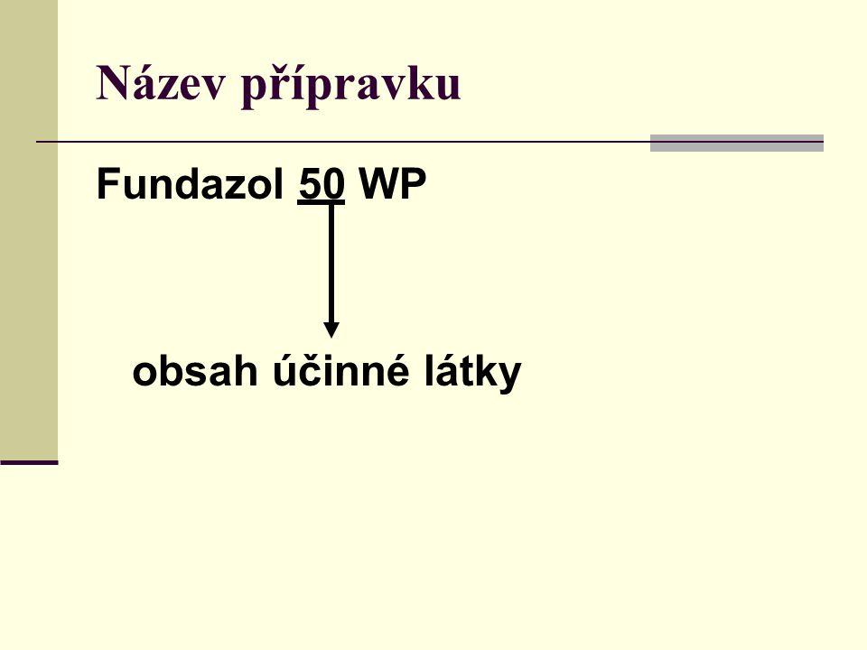 Název přípravku Fundazol 50 WP obsah účinné látky