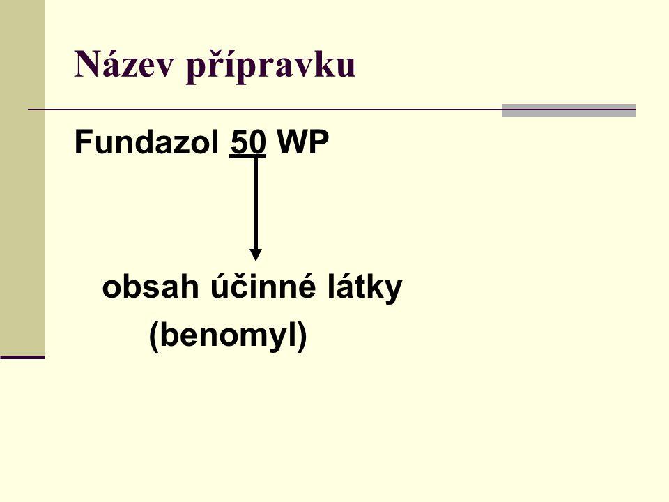 Název přípravku Fundazol 50 WP obsah účinné látky (benomyl)