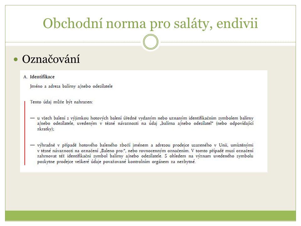 Obchodní norma pro saláty, endivii Označování