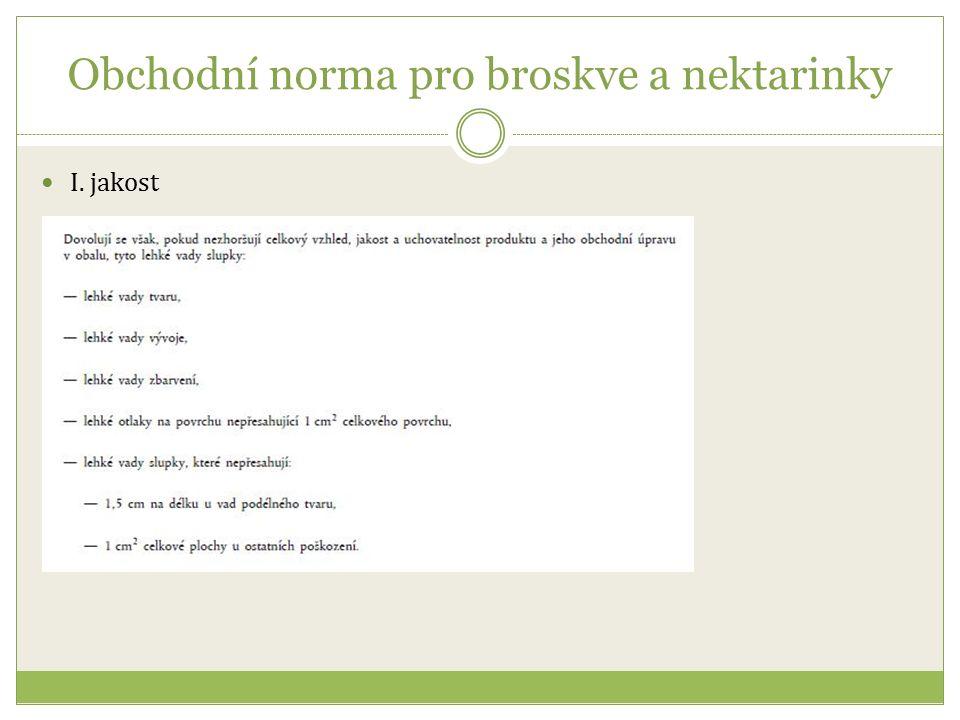 Obchodní norma pro broskve a nektarinky I. jakost