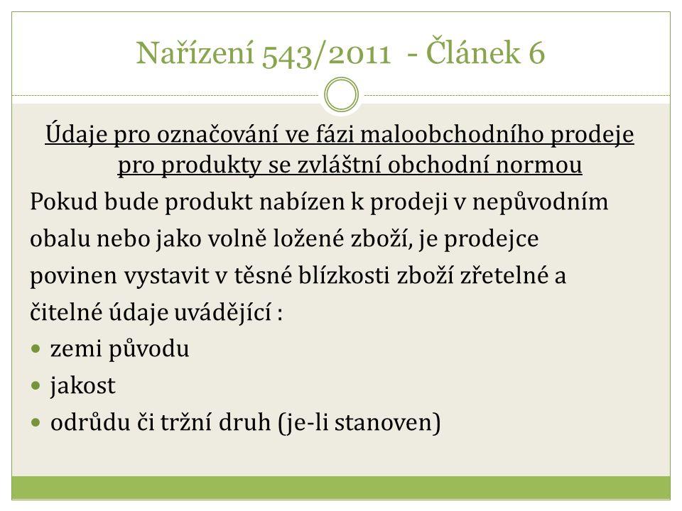 Obchodní norma citrusové plody Ustanovení o označování Původ produktu