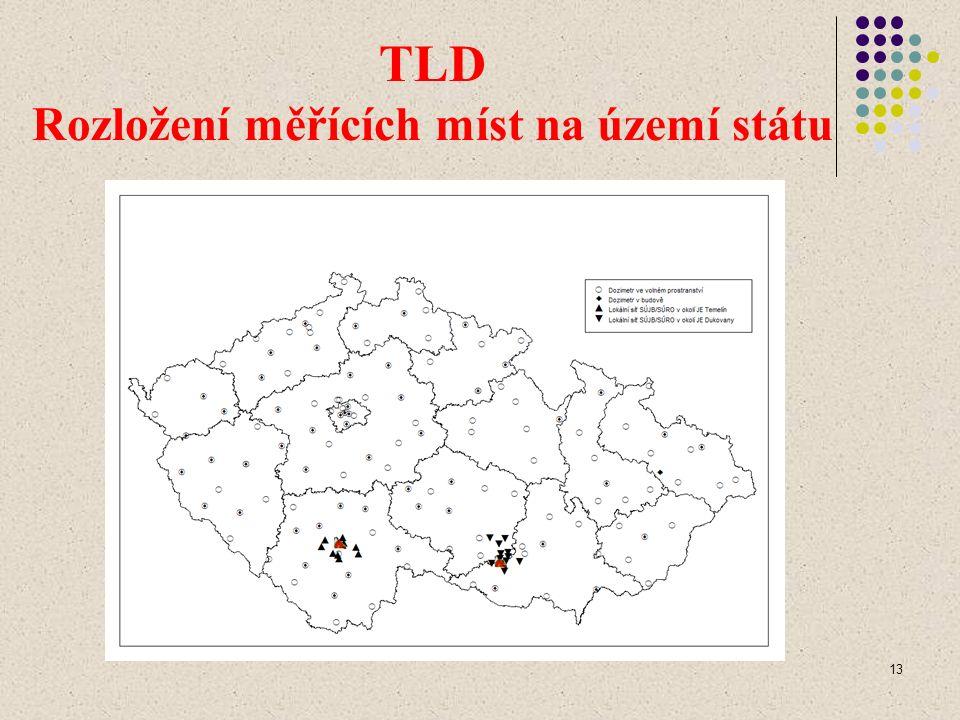 13 TLD Rozložení měřících míst na území státu