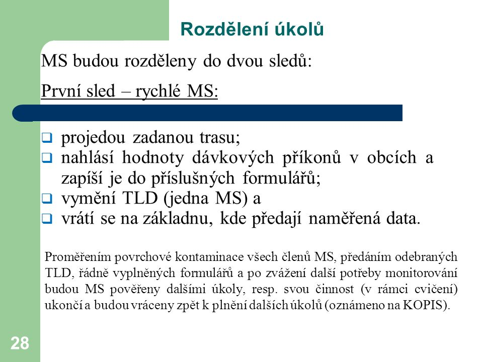 28 Rozdělení úkolů MS budou rozděleny do dvou sledů: První sled – rychlé MS:  projedou zadanou trasu;  nahlásí hodnoty dávkových příkonů v obcích a zapíší je do příslušných formulářů;  vymění TLD (jedna MS) a  vrátí se na základnu, kde předají naměřená data.