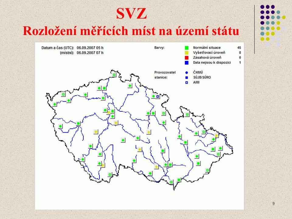 9 SVZ Rozložení měřících míst na území státu