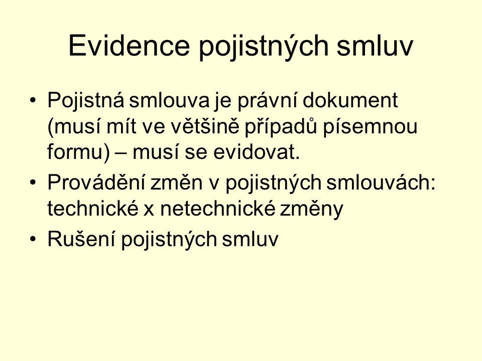 Evidence pojistných smluv Pojistná smlouva je právní dokument (musí mít ve většině případů písemnou formu) – musí se evidovat. Provádění změn v pojist