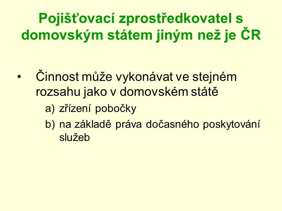 Pojišťovací zprostředkovatel s domovským státem jiným než je ČR Činnost může vykonávat ve stejném rozsahu jako v domovském státě a)zřízení pobočky b)n