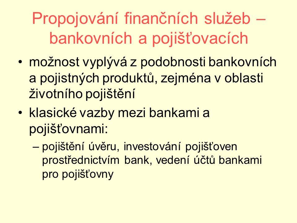 Propojování finančních služeb – bankovních a pojišťovacích možnost vyplývá z podobnosti bankovních a pojistných produktů, zejména v oblasti životního pojištění klasické vazby mezi bankami a pojišťovnami: –pojištění úvěru, investování pojišťoven prostřednictvím bank, vedení účtů bankami pro pojišťovny