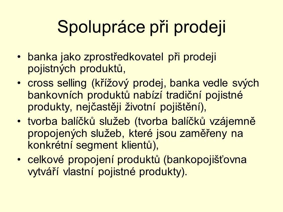Spolupráce při prodeji banka jako zprostředkovatel při prodeji pojistných produktů, cross selling (křížový prodej, banka vedle svých bankovních produktů nabízí tradiční pojistné produkty, nejčastěji životní pojištění), tvorba balíčků služeb (tvorba balíčků vzájemně propojených služeb, které jsou zaměřeny na konkrétní segment klientů), celkové propojení produktů (bankopojišťovna vytváří vlastní pojistné produkty).