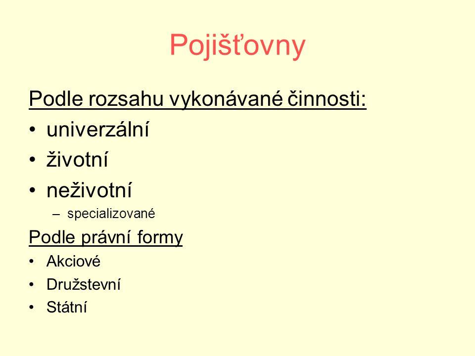 Počet a struktura pojišťoven v ČR