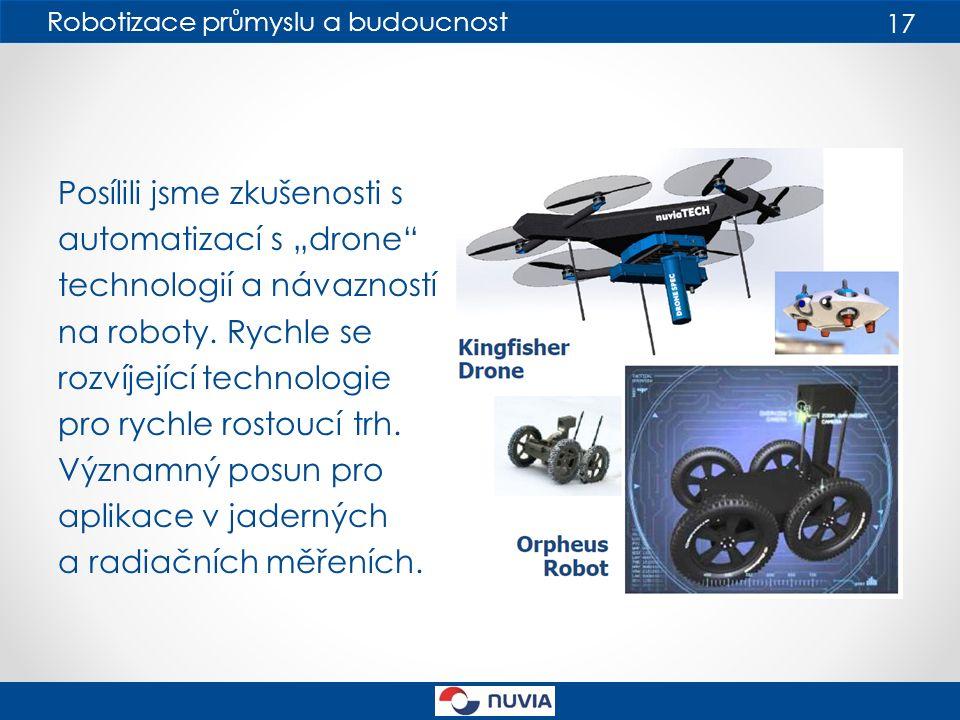 """Robotizace průmyslu a budoucnost 17 Posílili jsme zkušenosti s automatizací s """"drone technologií a návazností na roboty."""