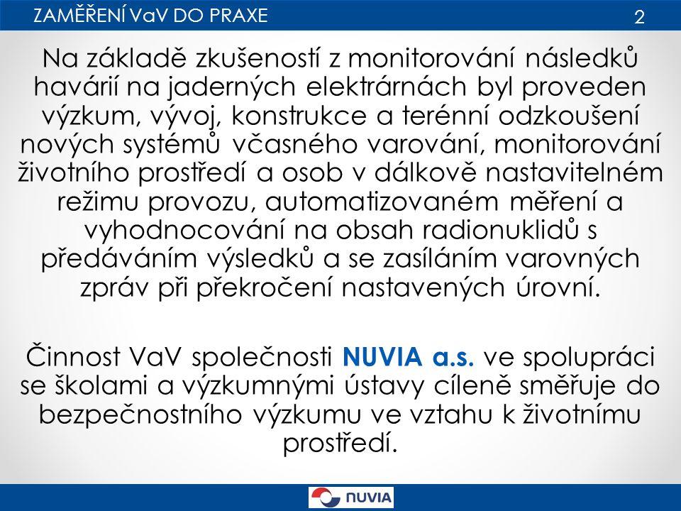 N ěkteré VaV projekty řešené u firmy NUVIA a.s., např.