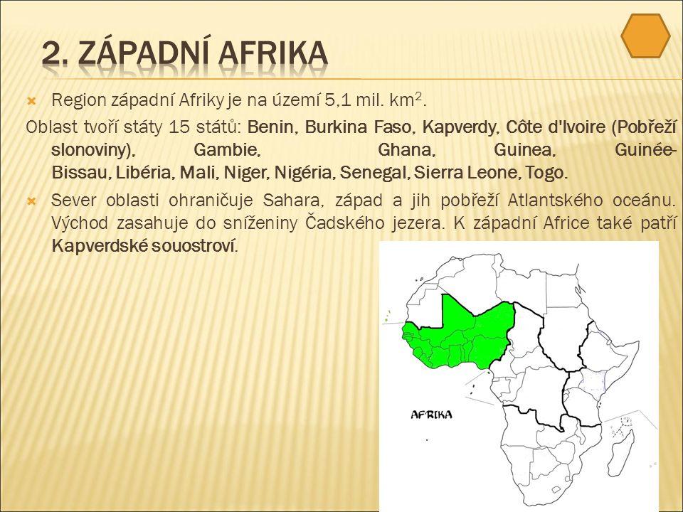  Region západní Afriky je na území 5,1 mil. km 2.