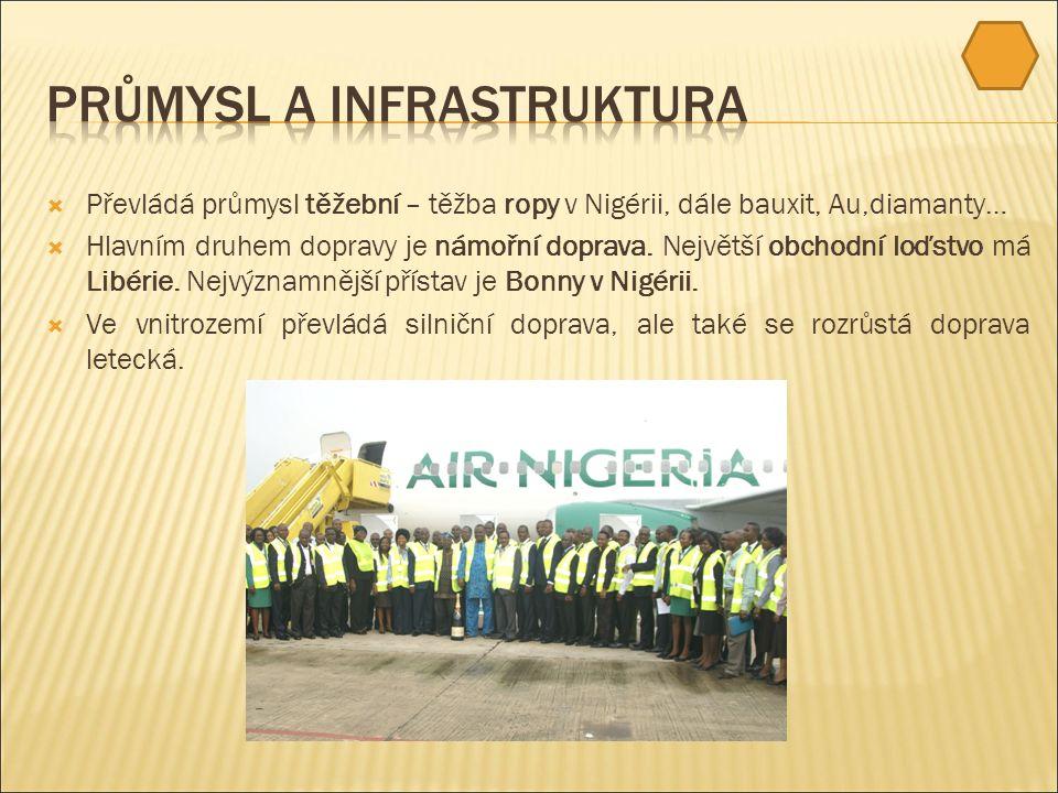  Převládá průmysl těžební – těžba ropy v Nigérii, dále bauxit, Au,diamanty…  Hlavním druhem dopravy je námořní doprava.