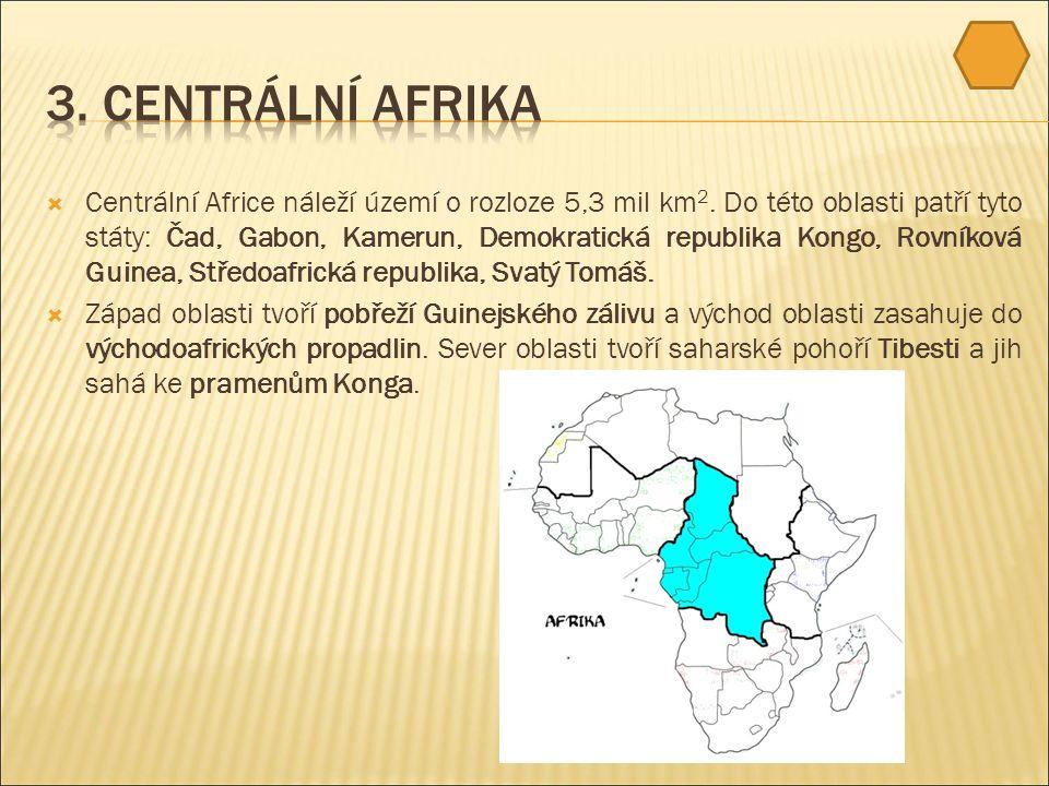  Centrální Africe náleží území o rozloze 5,3 mil km 2.