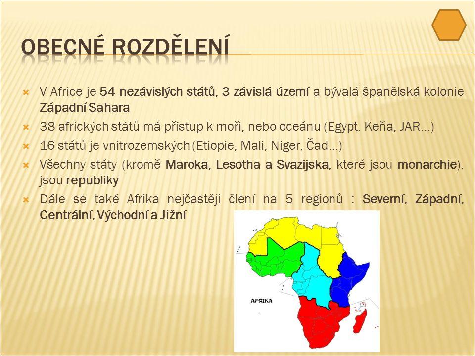  V Africe je 54 nezávislých států, 3 závislá území a bývalá španělská kolonie Západní Sahara  38 afrických států má přístup k moři, nebo oceánu (Egypt, Keňa, JAR…)  16 států je vnitrozemských (Etiopie, Mali, Niger, Čad…)  Všechny státy (kromě Maroka, Lesotha a Svazijska, které jsou monarchie), jsou republiky  Dále se také Afrika nejčastěji člení na 5 regionů : Severní, Západní, Centrální, Východní a Jižní