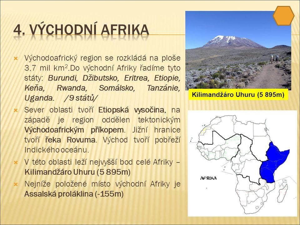  Východoafrický region se rozkládá na ploše 3,7 mil km 2.Do východní Afriky řadíme tyto státy: Burundi, Džibutsko, Eritrea, Etiopie, Keňa, Rwanda, Somálsko, Tanzánie, Uganda.
