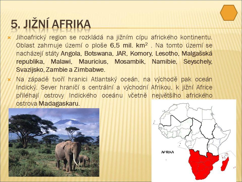  Jihoafrický region se rozkládá na jižním cípu afrického kontinentu.