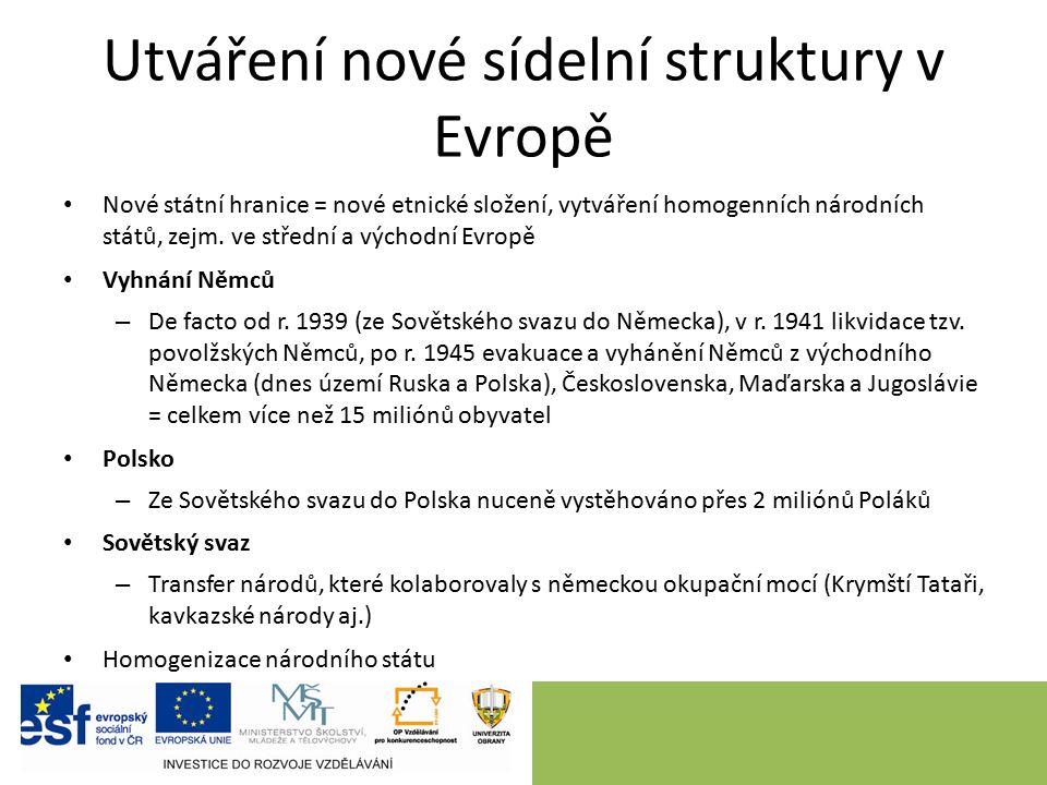Utváření nové sídelní struktury v Evropě Nové státní hranice = nové etnické složení, vytváření homogenních národních států, zejm. ve střední a východn