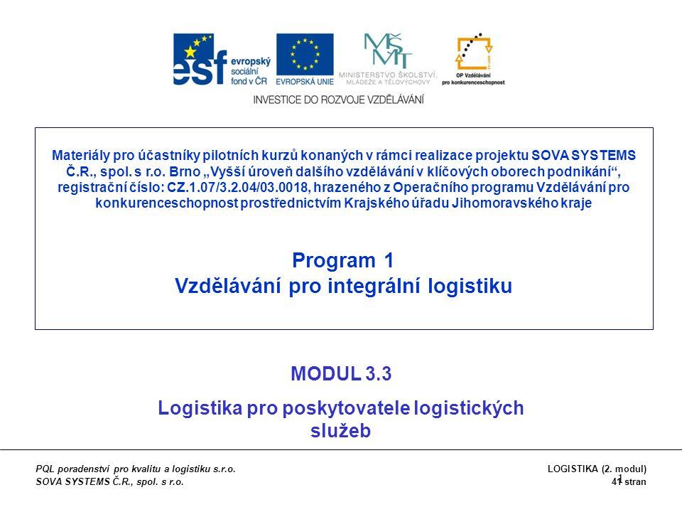"""1 Materiály pro účastníky pilotních kurzů konaných v rámci realizace projektu SOVA SYSTEMS Č.R., spol. s r.o. Brno """"Vyšší úroveň dalšího vzdělávání v"""