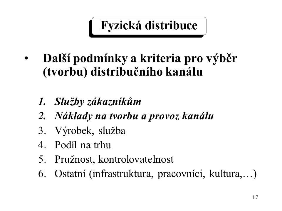 17 Další podmínky a kriteria pro výběr (tvorbu) distribučního kanálu 1.Služby zákazníkům 2.Náklady na tvorbu a provoz kanálu 3.Výrobek, služba 4.Podíl na trhu 5.Pružnost, kontrolovatelnost 6.Ostatní (infrastruktura, pracovníci, kultura,…)