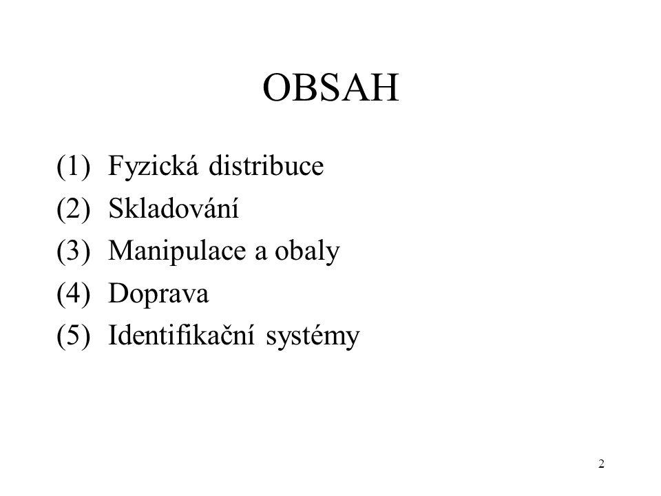 OBSAH (1) Fyzická distribuce (2) Skladování (3) Manipulace a obaly (4) Doprava (5) Identifikační systémy 2