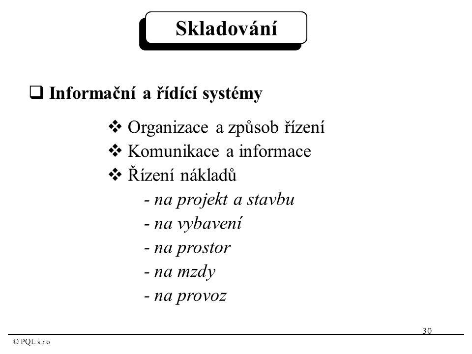 30 © PQL s.r.o Skladování  Informační a řídící systémy  Organizace a způsob řízení  Komunikace a informace  Řízení nákladů - na projekt a stavbu - na vybavení - na prostor - na mzdy - na provoz