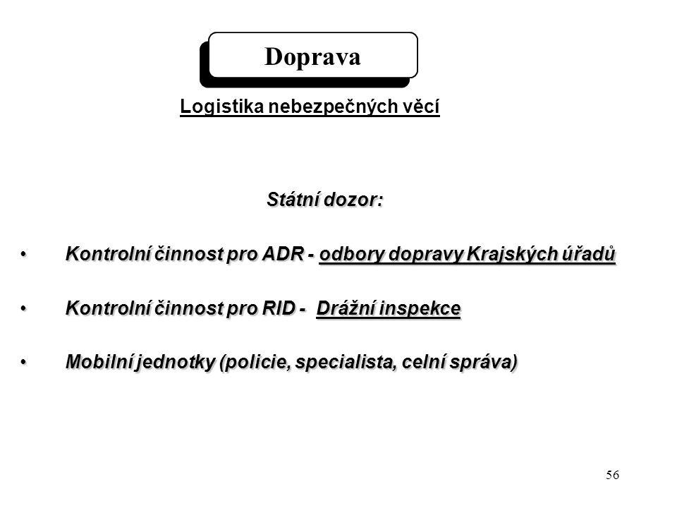 56 Státní dozor: Kontrolní činnost pro ADR - odbory dopravy Krajských úřadůKontrolní činnost pro ADR - odbory dopravy Krajských úřadů Kontrolní činnost pro RID - Drážní inspekceKontrolní činnost pro RID - Drážní inspekce Mobilní jednotky (policie, specialista, celní správa)Mobilní jednotky (policie, specialista, celní správa) Doprava Logistika nebezpečných věcí
