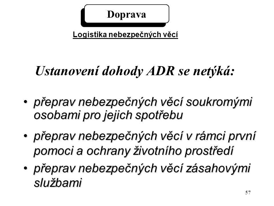 57 Ustanovení dohody ADR se netýká: přeprav nebezpečných věcí soukromými osobami pro jejich spotřebupřeprav nebezpečných věcí soukromými osobami pro j