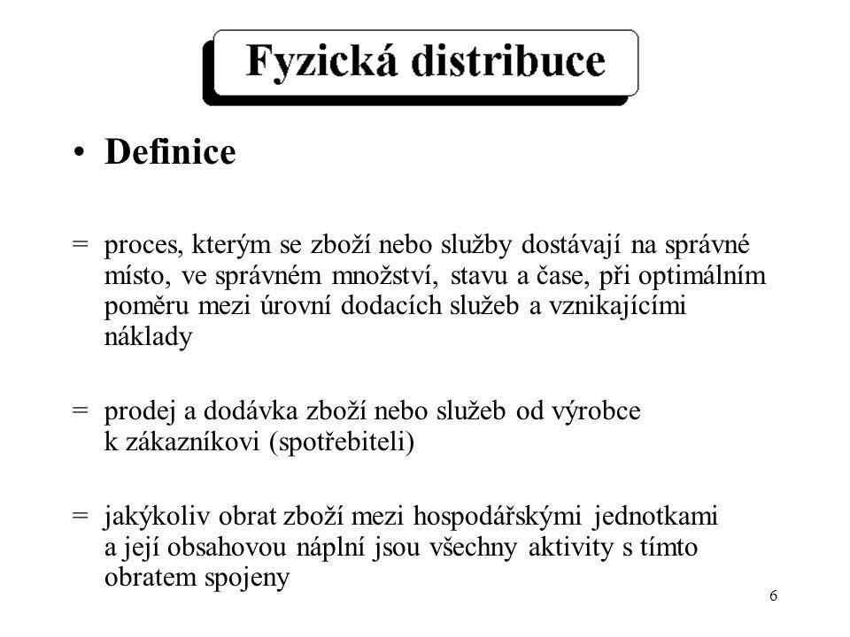 6 Definice =proces, kterým se zboží nebo služby dostávají na správné místo, ve správném množství, stavu a čase, při optimálním poměru mezi úrovní dodacích služeb a vznikajícími náklady =prodej a dodávka zboží nebo služeb od výrobce k zákazníkovi (spotřebiteli) =jakýkoliv obrat zboží mezi hospodářskými jednotkami a její obsahovou náplní jsou všechny aktivity s tímto obratem spojeny