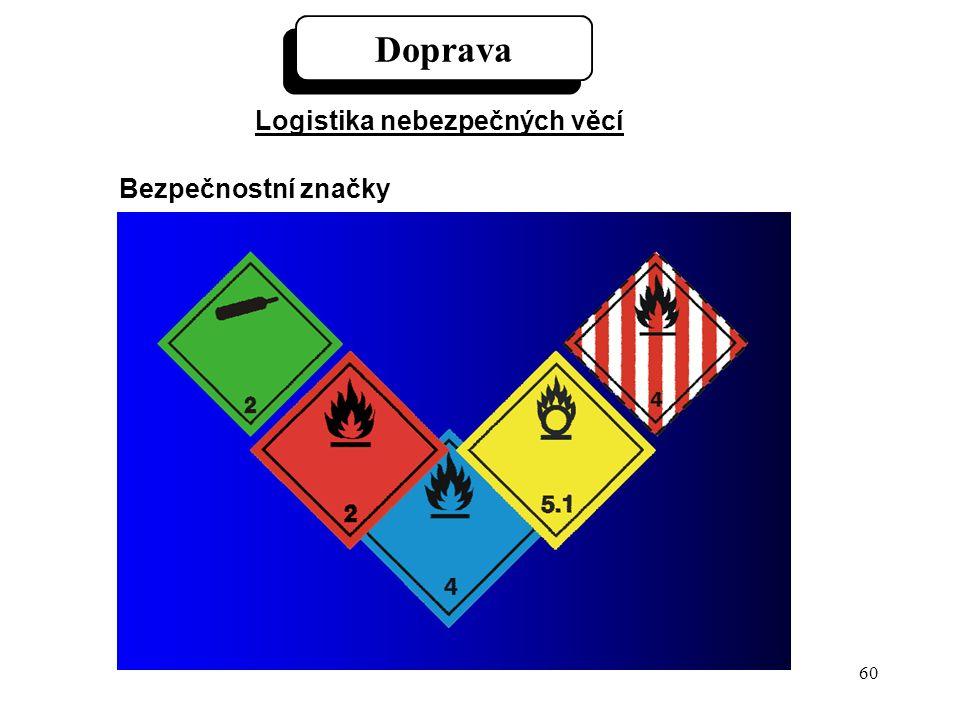 60 Doprava Logistika nebezpečných věcí Bezpečnostní značky