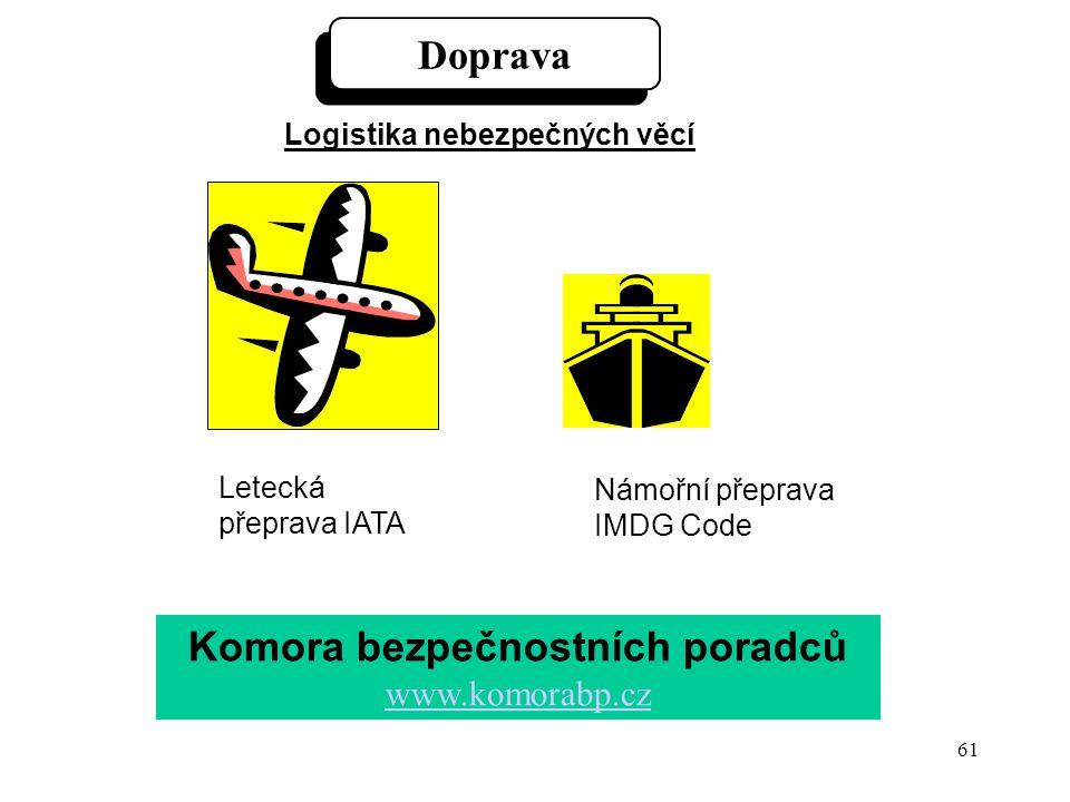 61 Doprava Logistika nebezpečných věcí Letecká přeprava IATA Námořní přeprava IMDG Code Komora bezpečnostních poradců www.komorabp.cz www.komorabp.cz
