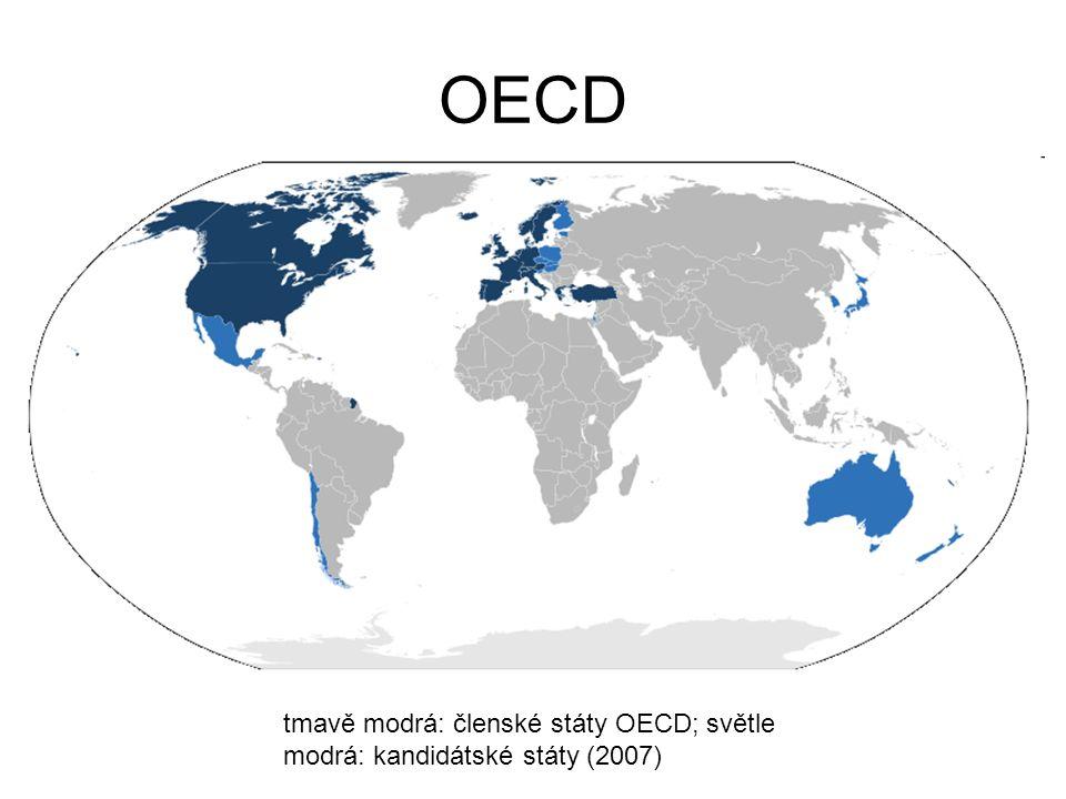 OECD tmavě modrá: členské státy OECD; světle modrá: kandidátské státy (2007)